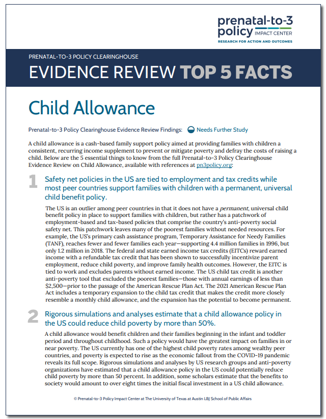 Evidence Review Top 5 Facts: Child Allowance